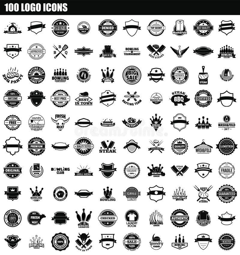 100 logo icon set, simple style royalty free illustration