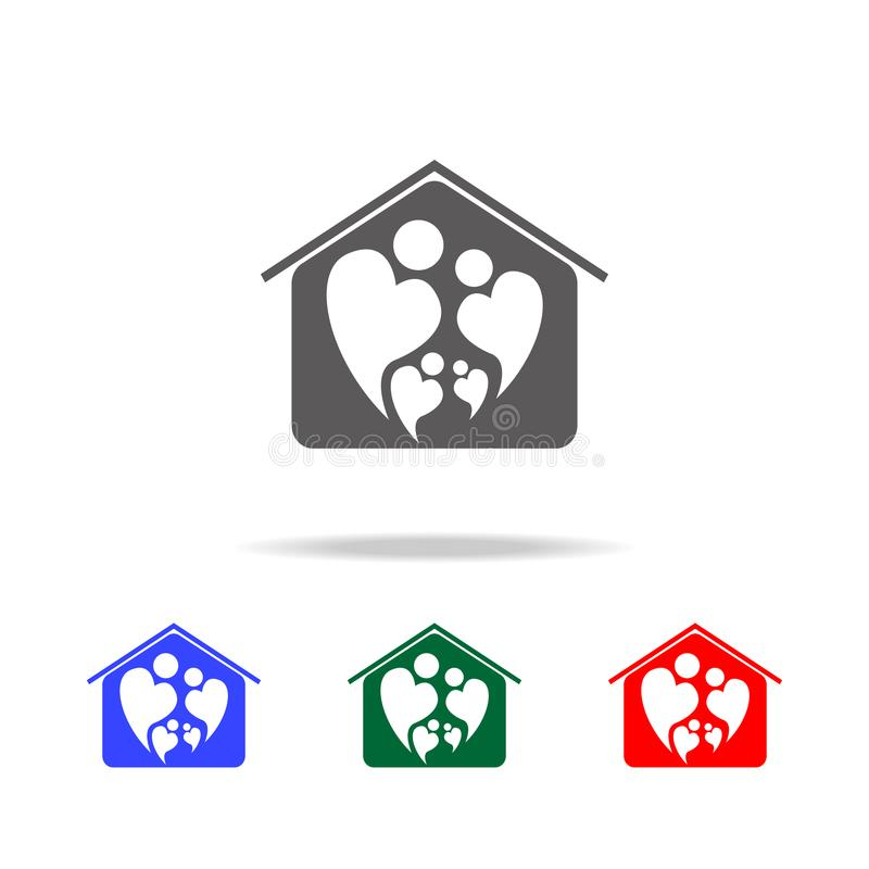 Logo icon of two people in love forming heart symbol in home icon. Elements of family multi colored icons. Premium quality. Graphic design icon on white royalty free stock photo
