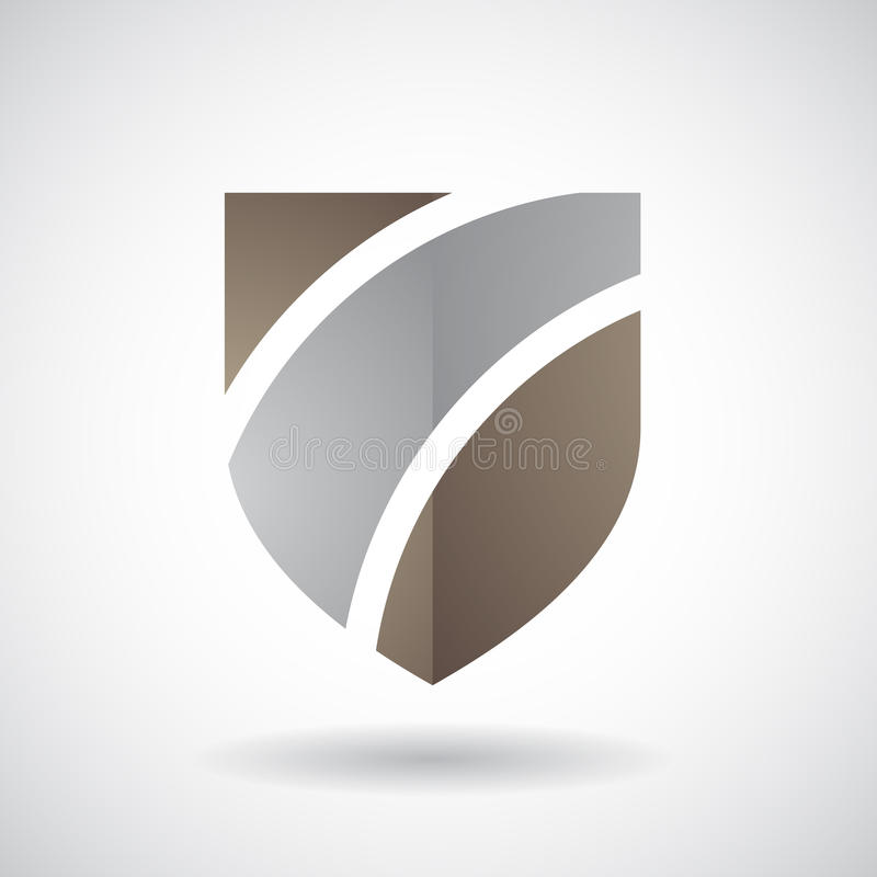 Logo Icon van een Gestreepte Schild Vectorillustratie stock illustratie