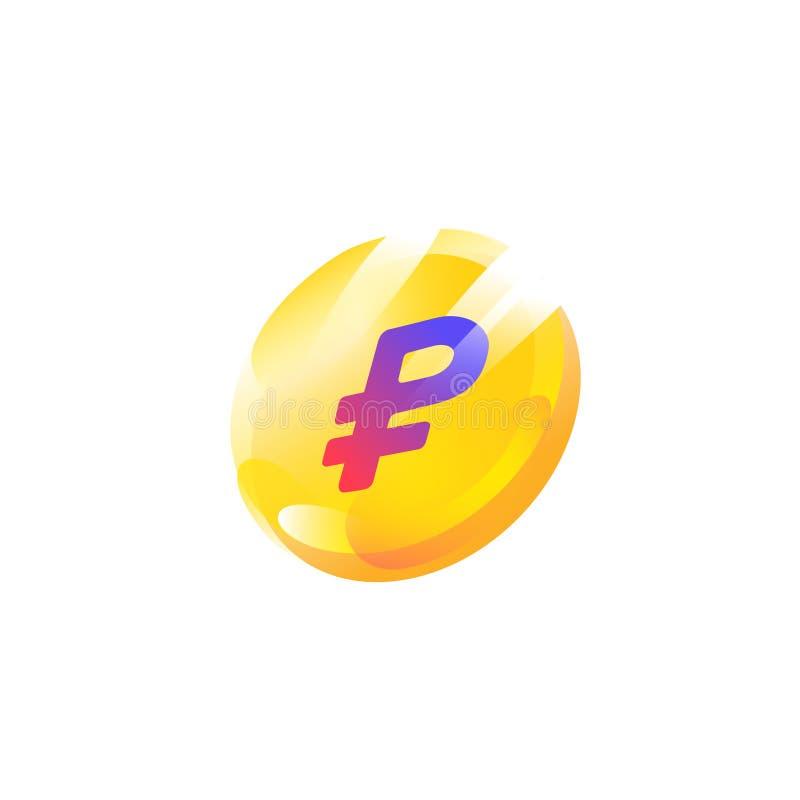 Logo, icona della moneta con un segno della rublo Vettore L'immagine è isolata su fondo bianco Icona alla moda e luminosa Marchio illustrazione di stock
