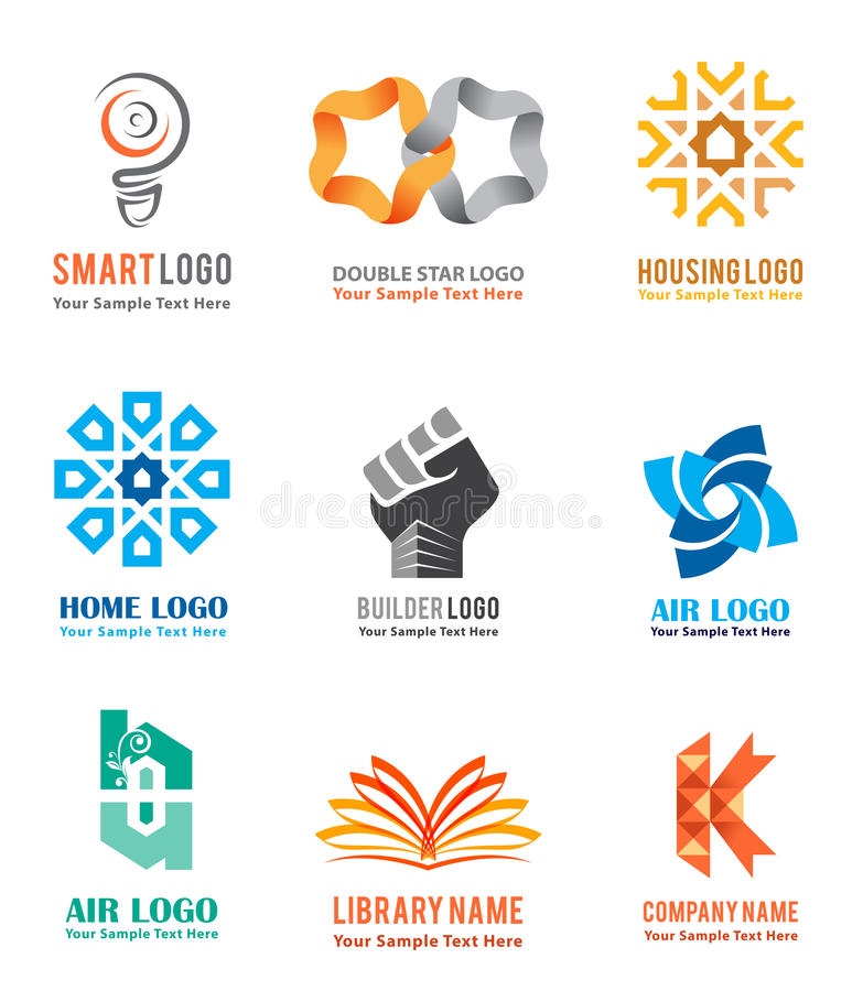 Logo icons set for company identity branding like smart ideas. Housing and real estate in white background. Vector illustration vector illustration