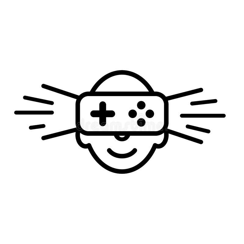 Logo, ikona rzeczywistość wirtualna Twarz ludzka z rzeczywistość wirtualna przyrządem Znak, emblemata wektoru szablon ilustracja wektor