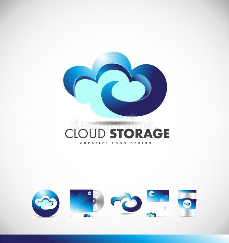 LOGO-Ikonendesign der Wolke Datenverarbeitungs vektor abbildung