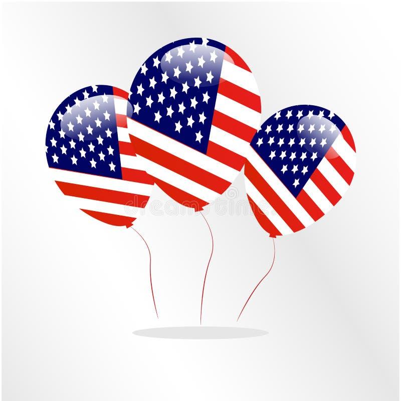 Logo ikony Ballon kraju Ameryka usa Szczęśliwa flaga zdjęcia stock