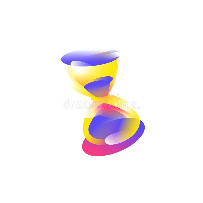 Logo, ikony Hourglass wektor Wizerunek odizolowywa na białym tle Modna, jaskrawa ikona, logo nowożytny Emblemat dla sklepu, royalty ilustracja