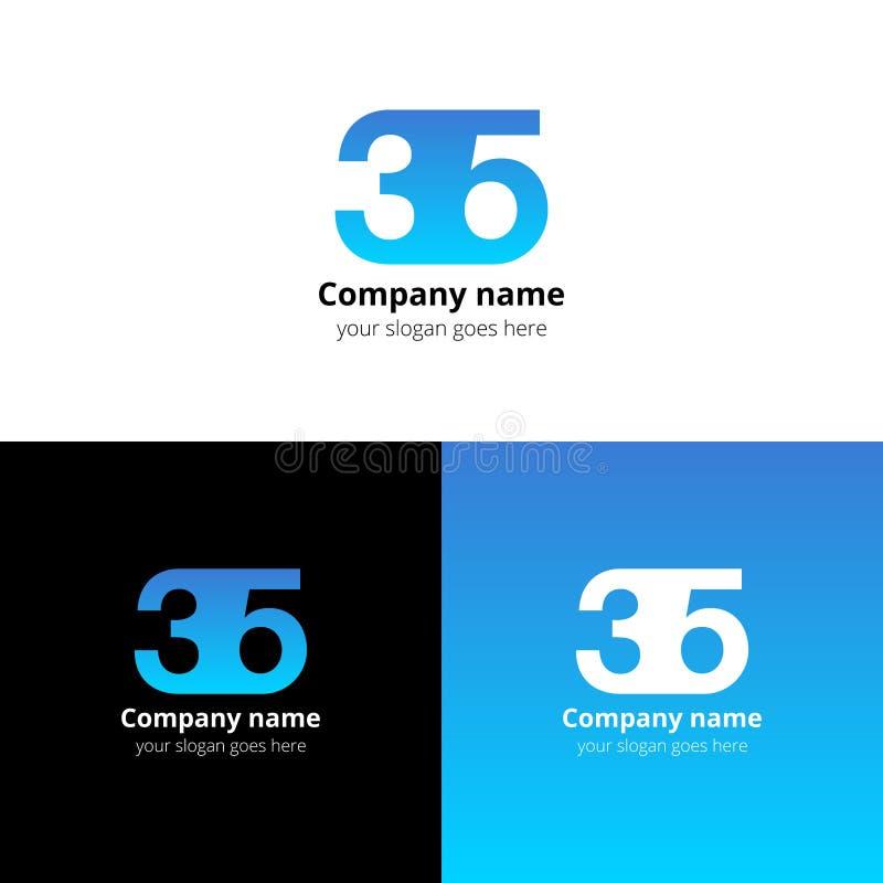35 logo ikony liczb mieszkanie i wektorowy projekta szablon ilustracji