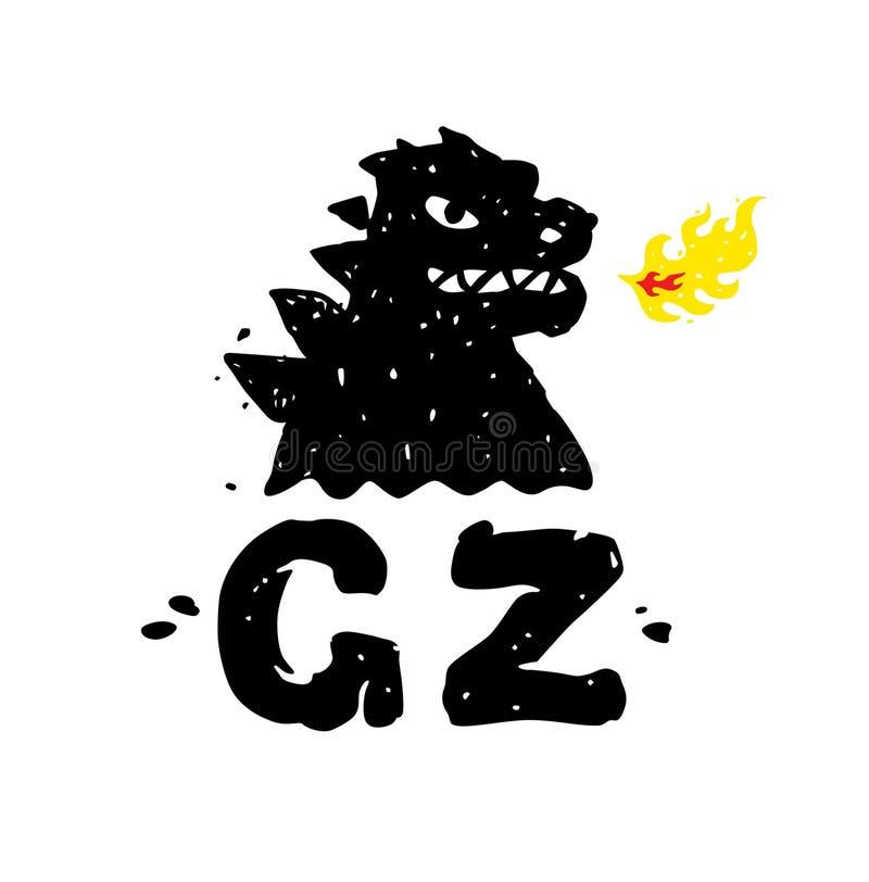 Logo, ilustracja godzilla, smok Wektorowy płaski logo Wizerunek odizolowywa na białym tle Znak, maskotka firma royalty ilustracja