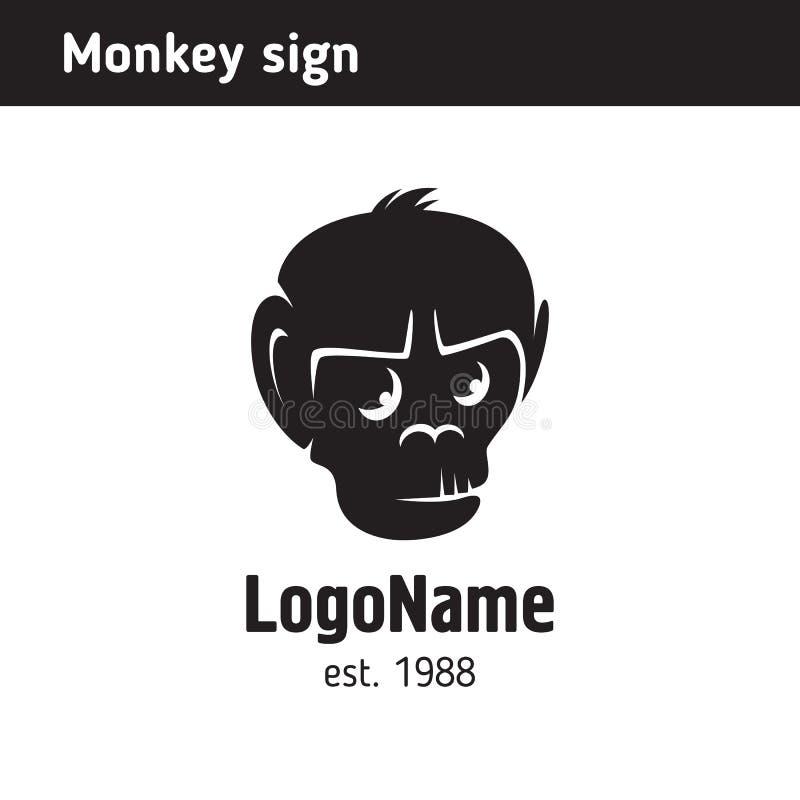 Logo im Kopf eines Affen, Monochrom, Schattenbild stock abbildung