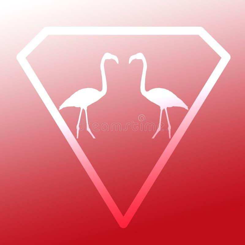 Logo Image Bird Flamingo Pair que está em Diamond Shape no fundo branco vermelho ilustração do vetor