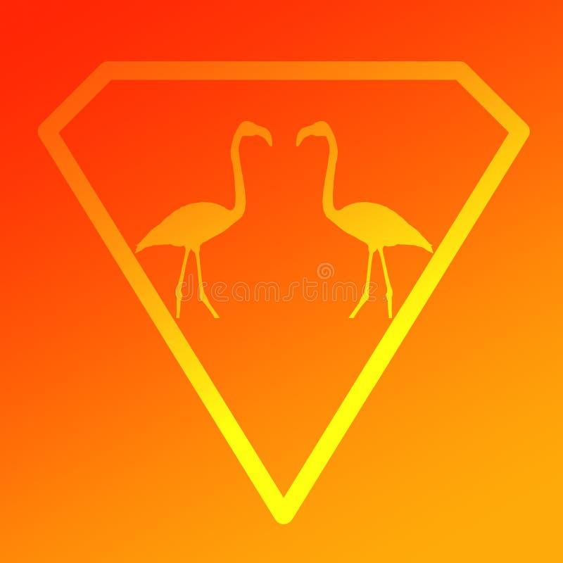 Logo Image Bird Flamingo Pair standing in a Diamond Shape on Orange Yellow  Background. Logo Image Bird Flamingo Pair standing in a Diamond Shape on Orange stock illustration