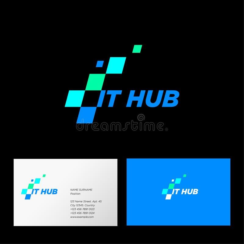 Logo informatique de hub Icône d'interface de Web identité Carte de visite professionnelle de visite illustration stock