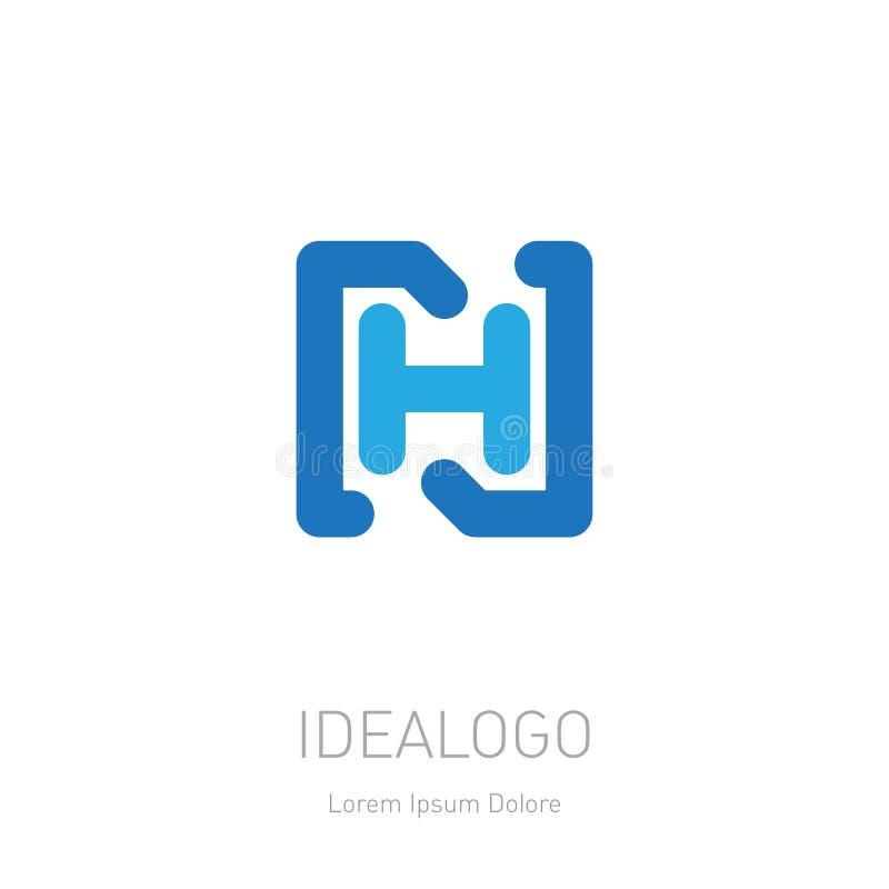 Logo initial de N et de H NH - Élément ou icône de conception de vecteur Logotype initial de monogramme illustration de vecteur