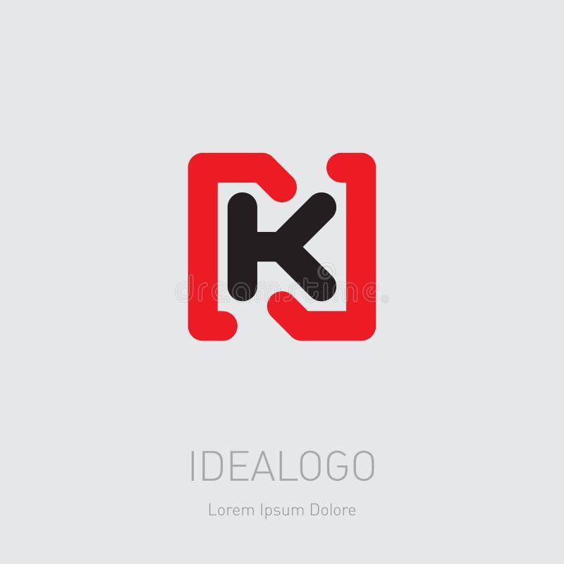 Logo initial de N et de K NK - Élément ou icône de conception de vecteur Logotype initial de monogramme illustration libre de droits