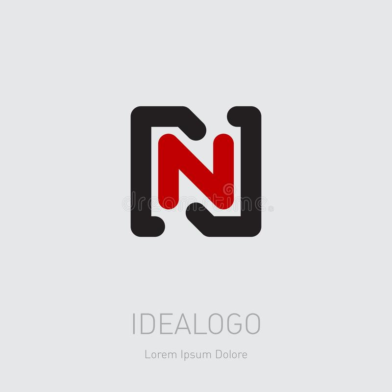 Logo initial de N et de N NN - Élément ou icône de conception de vecteur Logotype initial de monogramme illustration libre de droits