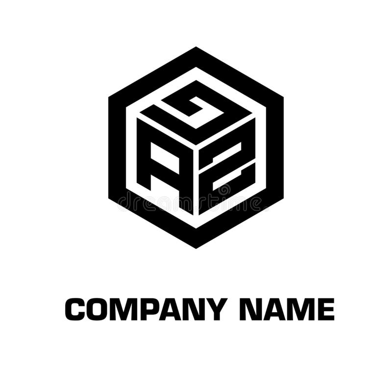 Logo initial hexagon for a company stock images