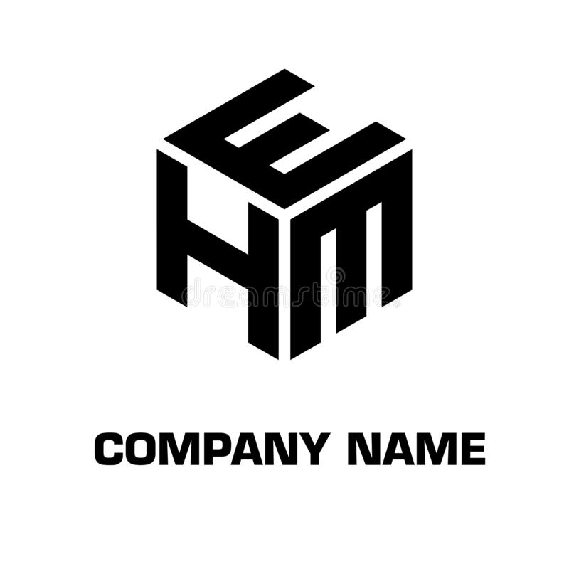 Logo initial hexagon for a company royalty free stock image