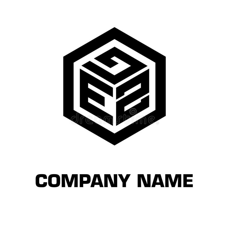 Logo initial hexagon for a company royalty free stock photography