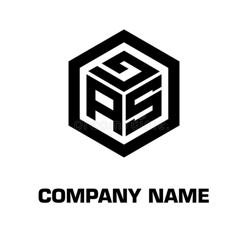 Logo initial hexagon for a company stock image