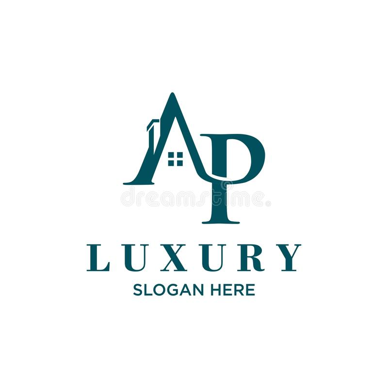 Logo initial letters `AP` roof home real estate, construction royalty free illustration