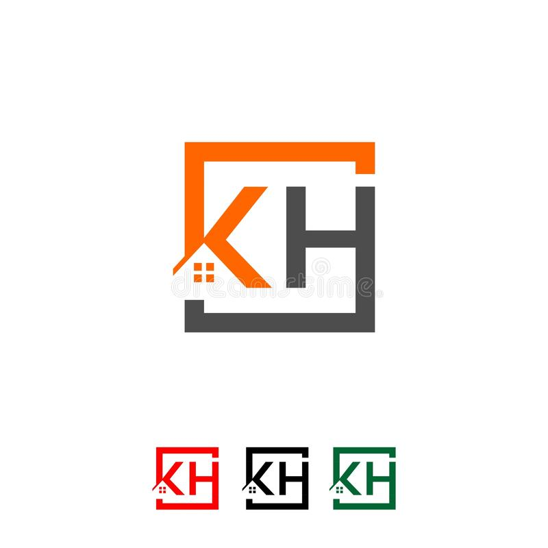 Logo initial letters `KH` roof home real estate, construction vector illustration
