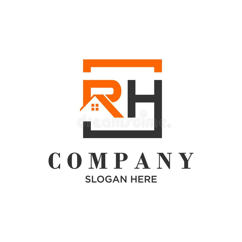 Logo initial letters `RH` roof home real estate, construction royalty free illustration