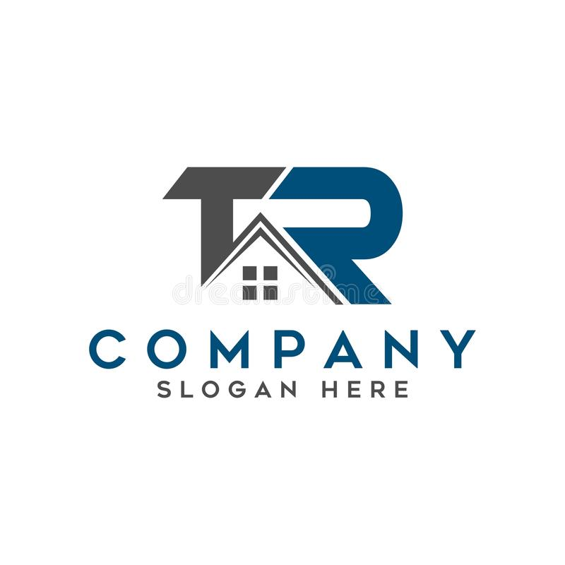 Logo initial letters `TR` roof home real estate, construction vector illustration