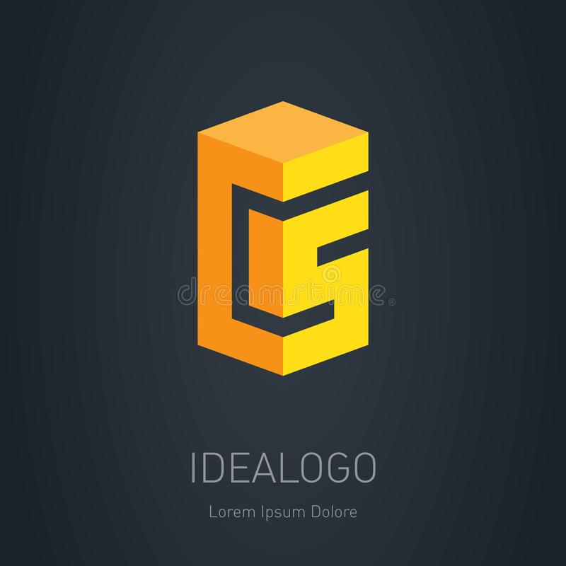 Logo iniziale del CS C e 5 - Vector l'elemento di progettazione o l'icona 3d C A illustrazione vettoriale