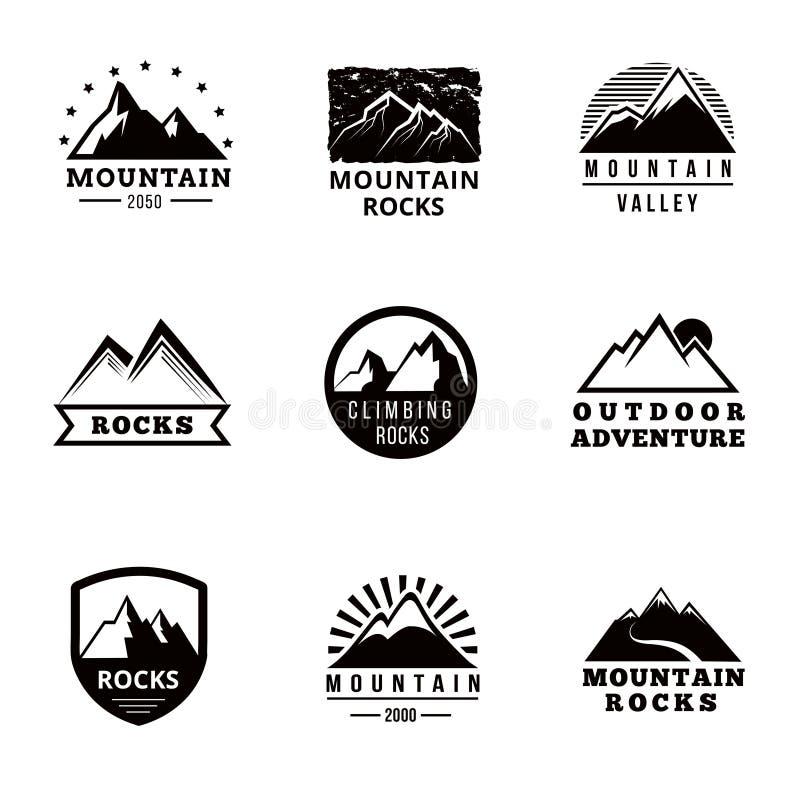 Logo, insignes et emblèmes de vecteur de montagnes réglés illustration libre de droits