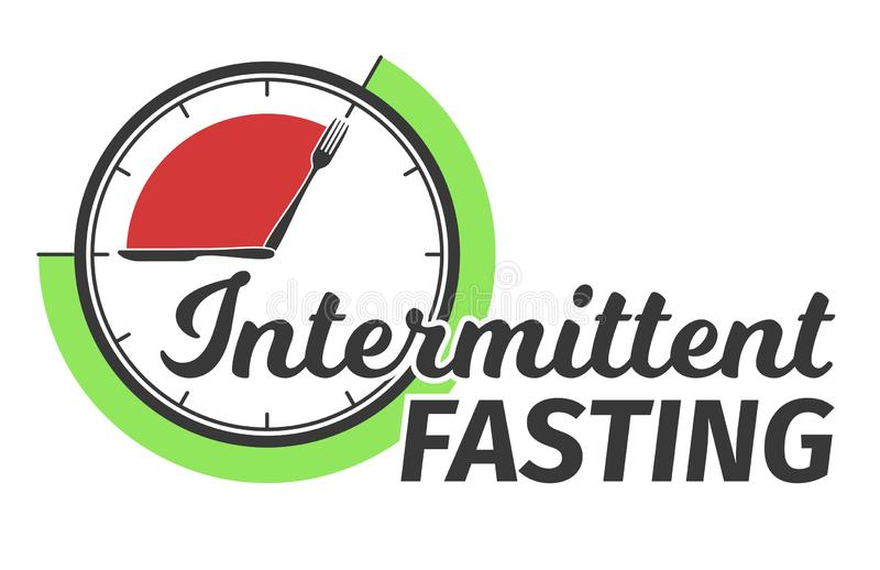 Logo of Intermittent fasting. Clock face symbolizing the principle of Intermittent fasting. Vector illustration. Logo of Intermittent fasting. Clock face royalty free illustration