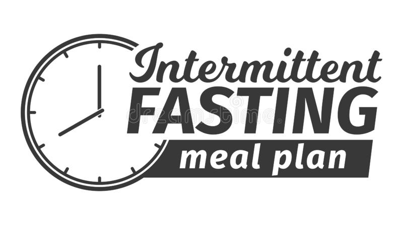 Logo of Intermittent fasting meal plan. Clock face symbolizing the principle of Intermittent fasting. Vector. Logo of Intermittent fasting meal plan. Clock face royalty free illustration