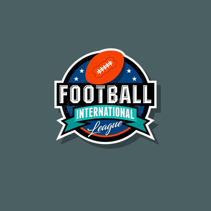 Logo international de ligue de football américain Emblème de football américain illustration libre de droits