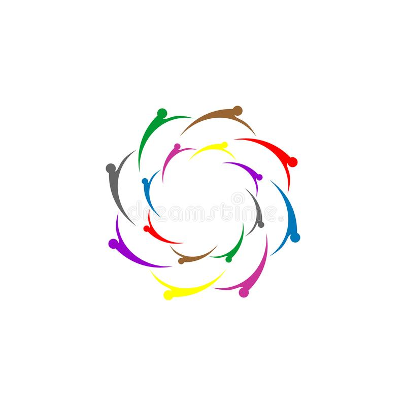 Flower logo design, people active concept, colorful logo design. stock illustration