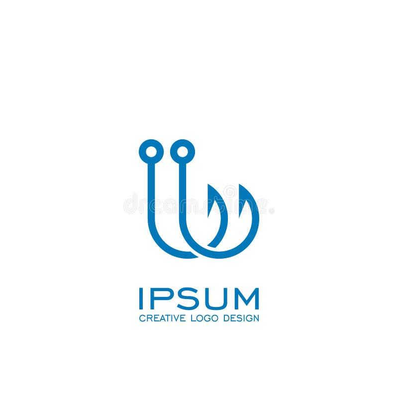 Hook logo design, fishing logo, vector icons. stock illustration