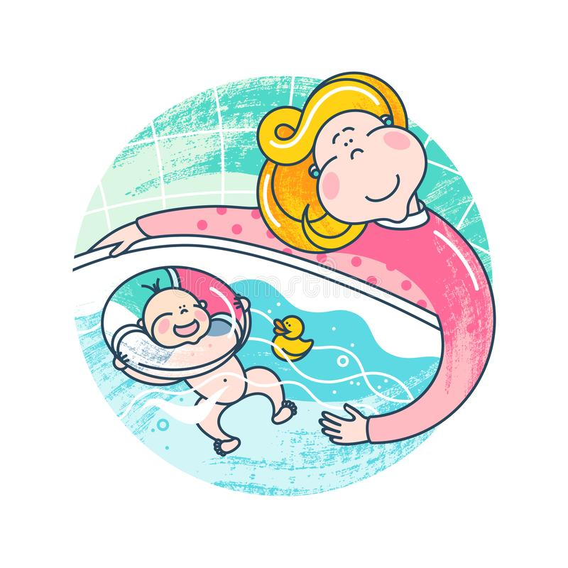 Logo Isolated On White Background lycklig moder för barn Mamman badar behandla som ett barn i ett stort badkar Ungen gillar att s royaltyfri illustrationer