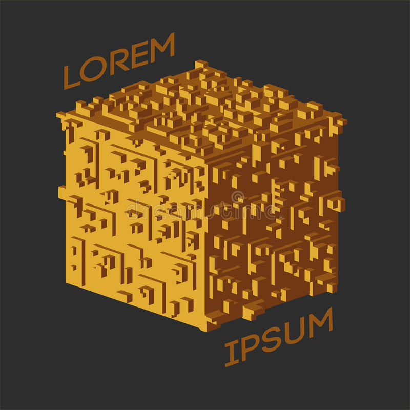 Logo isometrico astratto del cubo Illustrazione di vettore Icona isolata Elemento di disegno illustrazione vettoriale