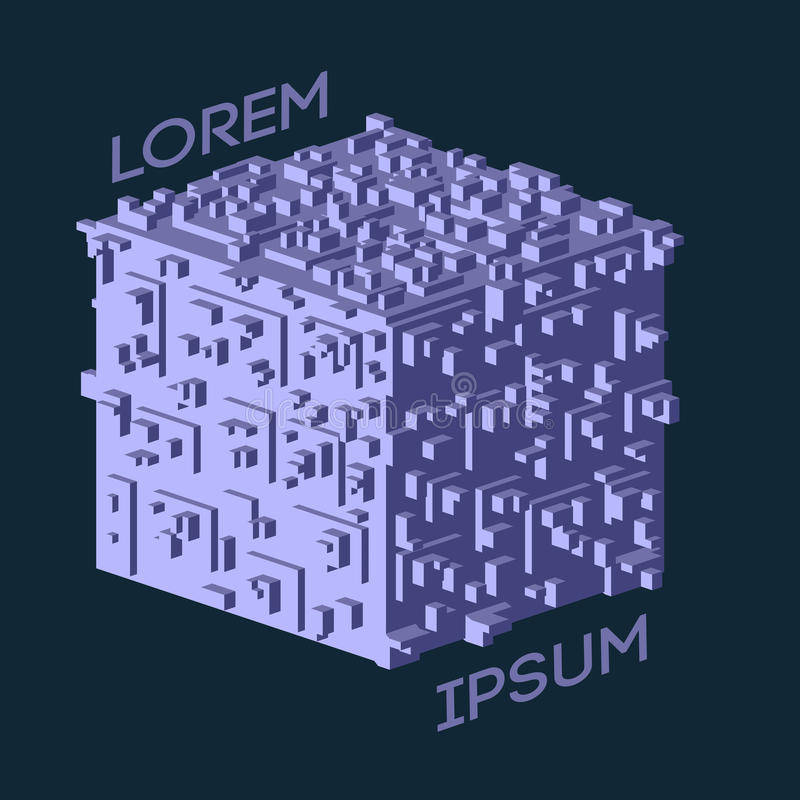 Logo isometrico astratto del cubo Illustrazione di vettore Icona isolata Elemento di disegno illustrazione di stock