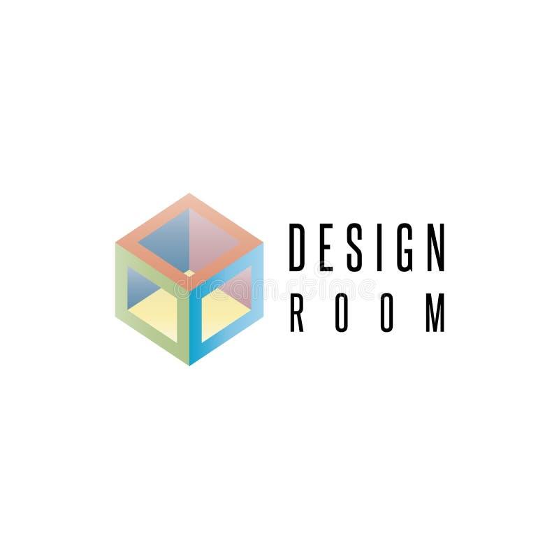 Logo isometrico del cubo, elemento geometrico di progettazione di forma 3D, icona della stanza dell'estratto del modello illustrazione vettoriale