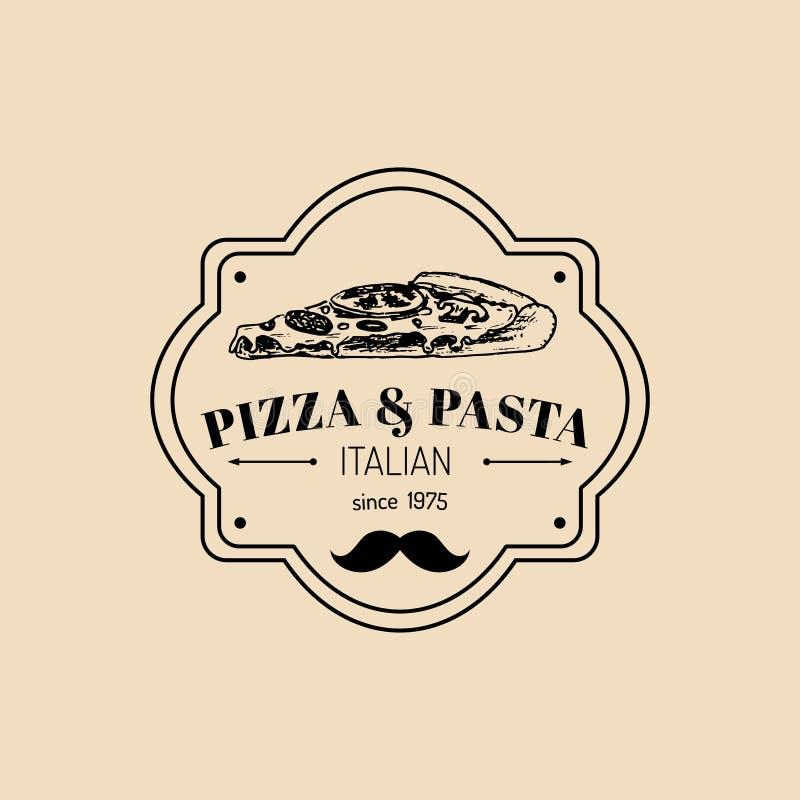 Logo italien de nourriture de hippie de vintage de vecteur Signe moderne de pâtes et de pizza Illustration tirée par la main d'ic illustration de vecteur
