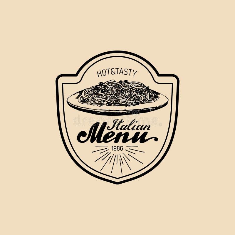 Logo italien de nourriture de hippie de vintage de vecteur Signe ou icône moderne de pâtes Illustration méditerranéenne tirée par illustration stock