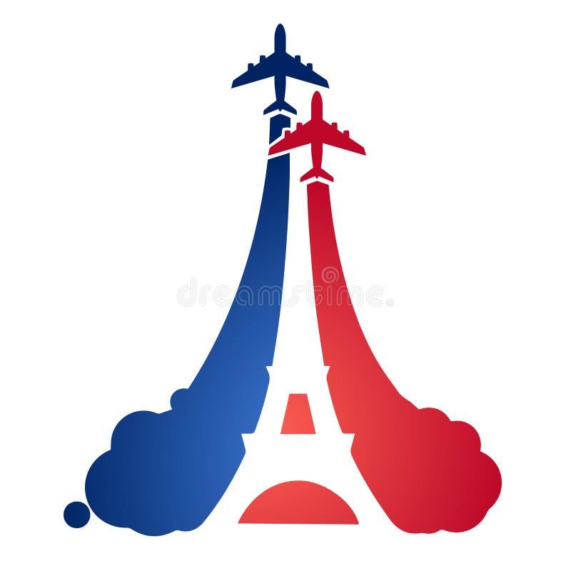 Logo jako turystyczny latający samolot z sylwetką wieża eifla i symbolizmem Francuska flaga, ilustracji