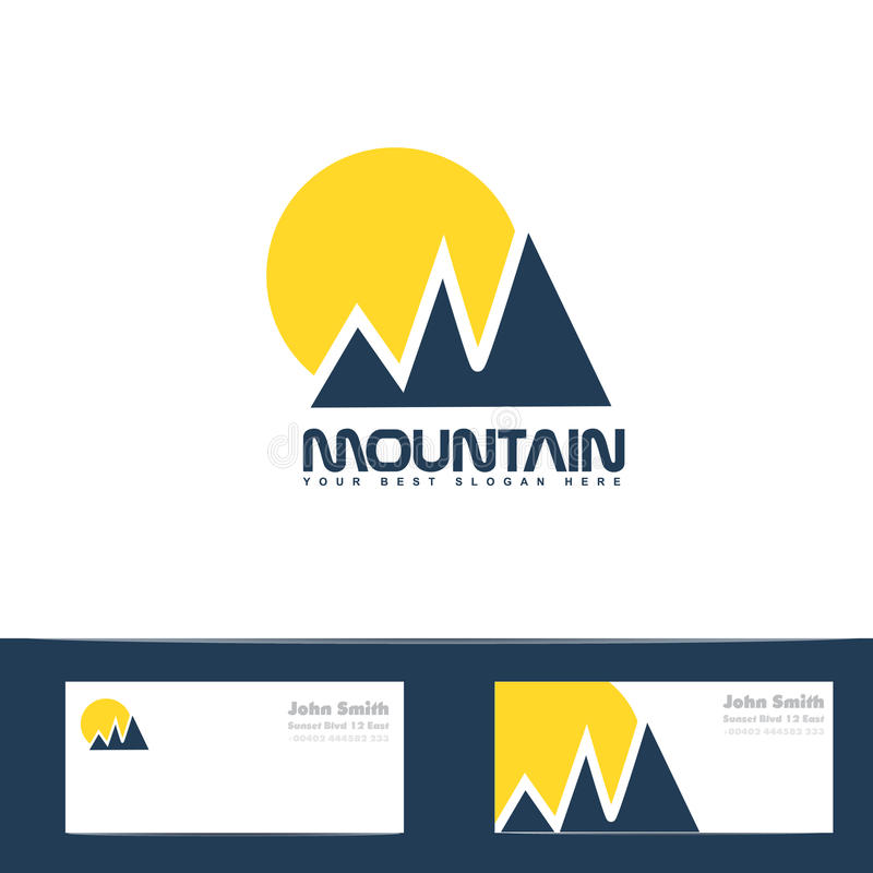 logo jaune bleu du soleil de montagne illustration de. Black Bedroom Furniture Sets. Home Design Ideas