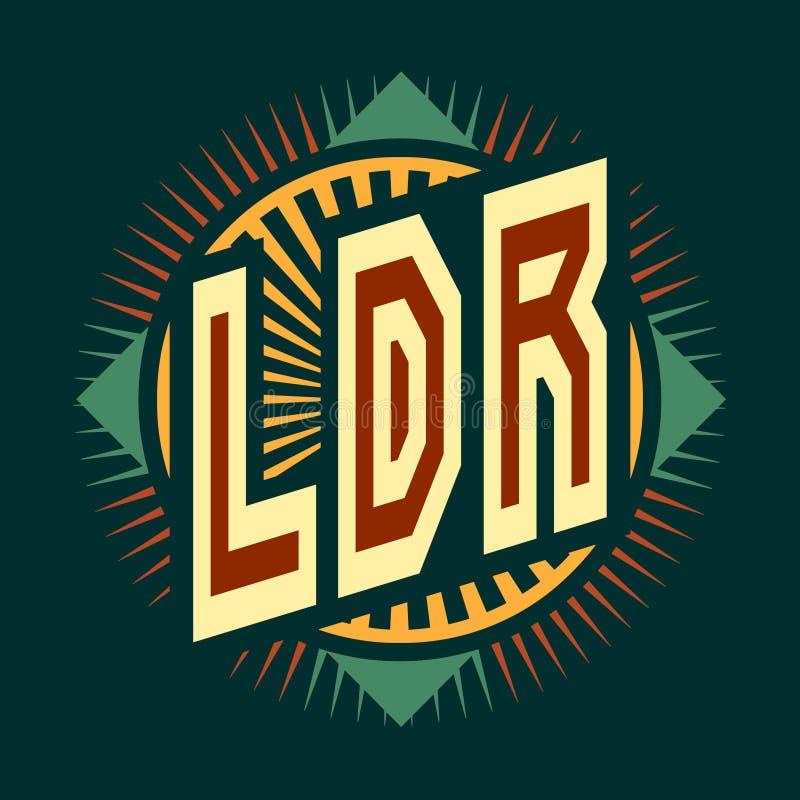 Logo jest skrótem ` LDR ` długodystansowy związek Wizerunek z koloru tekstem na ciemnym tle ilustracji