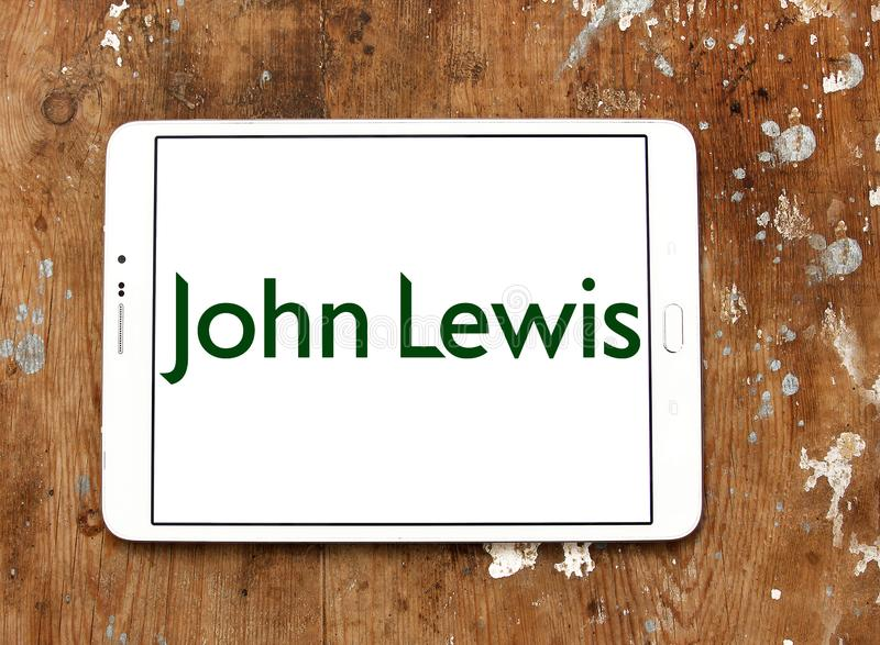 John Lewis department store logo. Logo of John Lewis stores on samsung tablet. John Lewis is a chain of high end department stores operating throughout the royalty free stock images