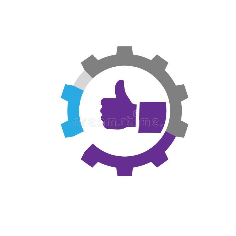 Logo kciuka ręki przekładnie i grafika ilustracja wektor