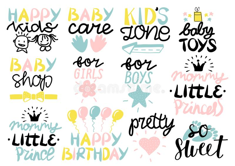 Logo 12 Kind s mit alles Gute zum Geburtstag der Handschrift, Babysorgfalt, Zone, Spielwaren, Shop, für Mädchen, Jungen, kleine P vektor abbildung