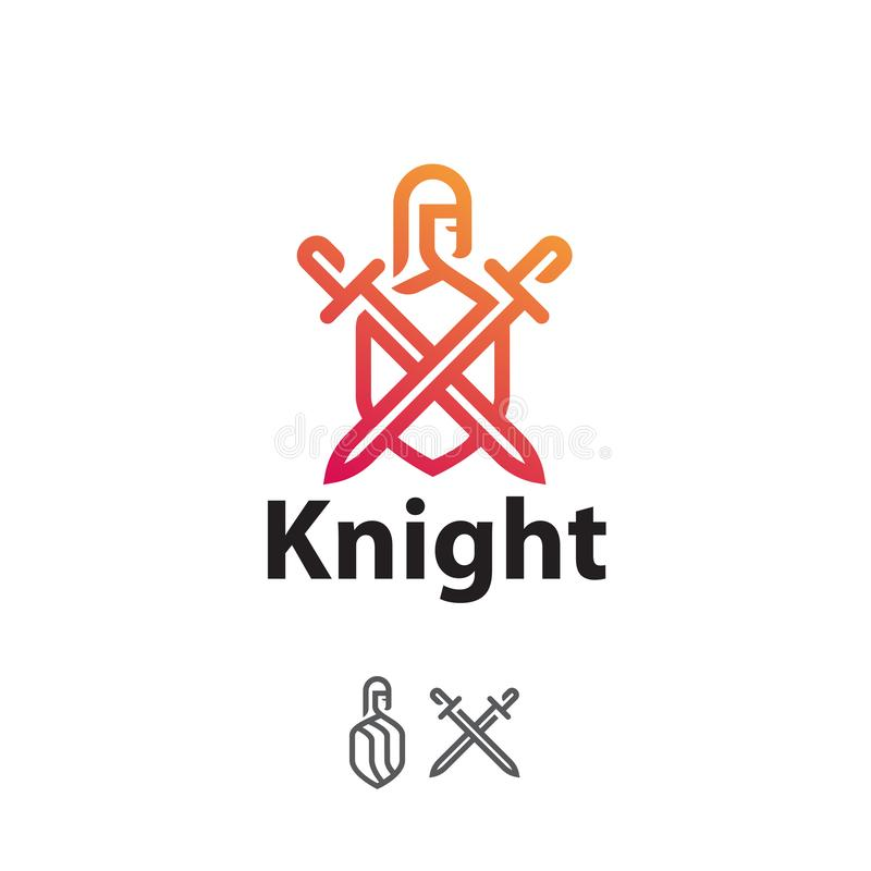 Free Logo Knight With Swords And Shield, Line Art Stock Photos - 125243613