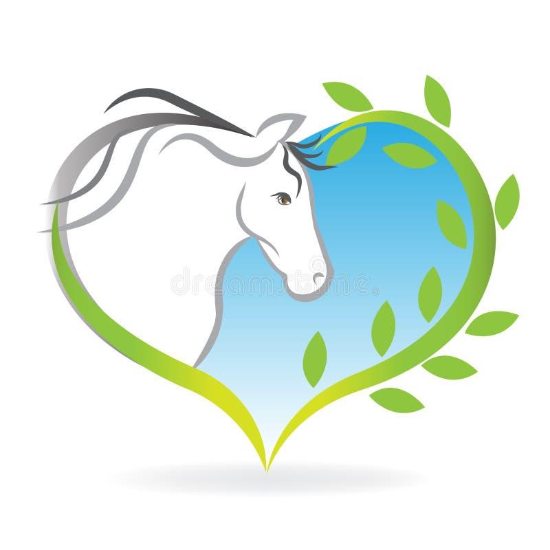 Logo koń wśrodku miłości serca leafs ilustracja wektor