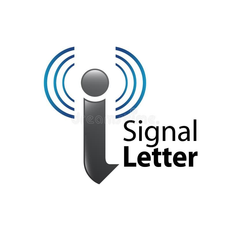 Logo-Konzeptentwurf des Signalanfangsbuchstaben I Grafisches Schablonenelement des Symbols lizenzfreie abbildung