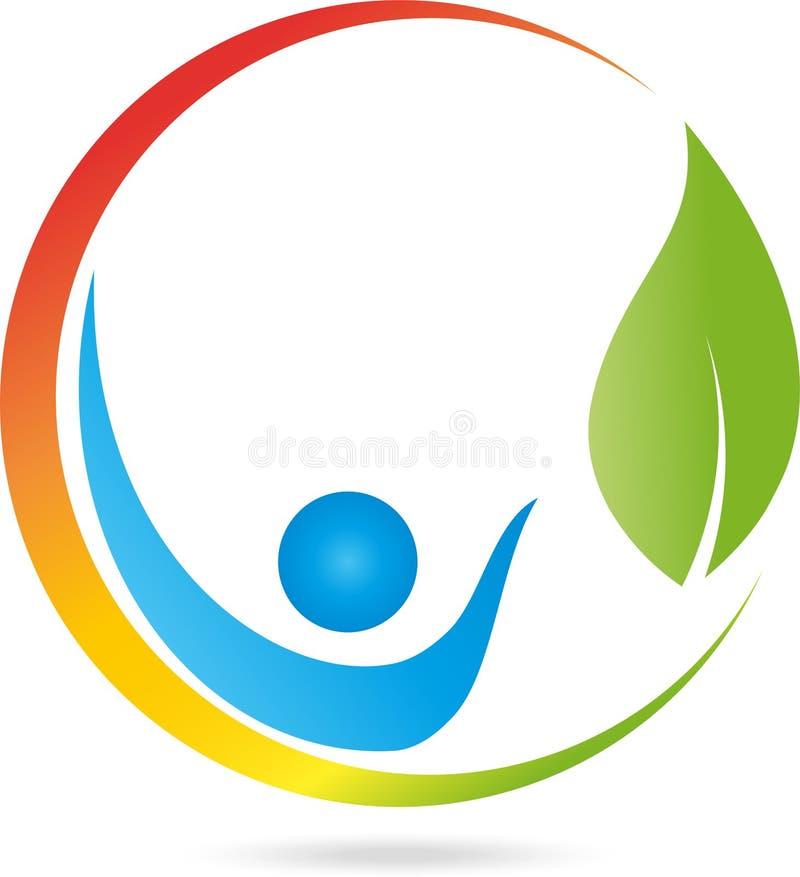 Logo, la gente, foglie, naturopate illustrazione vettoriale