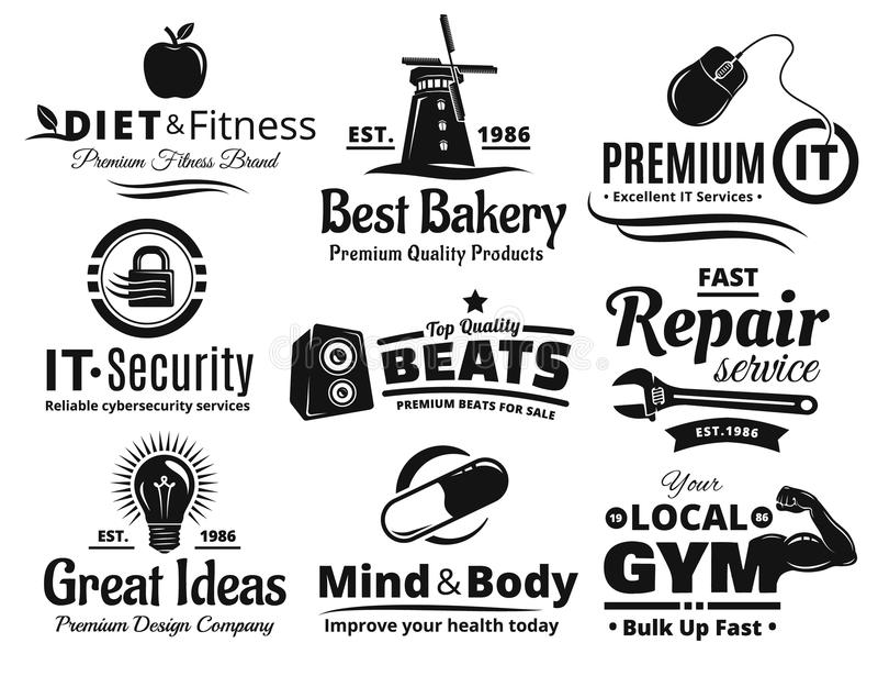 Logo Label Insignia And Icon-Satz stockfoto